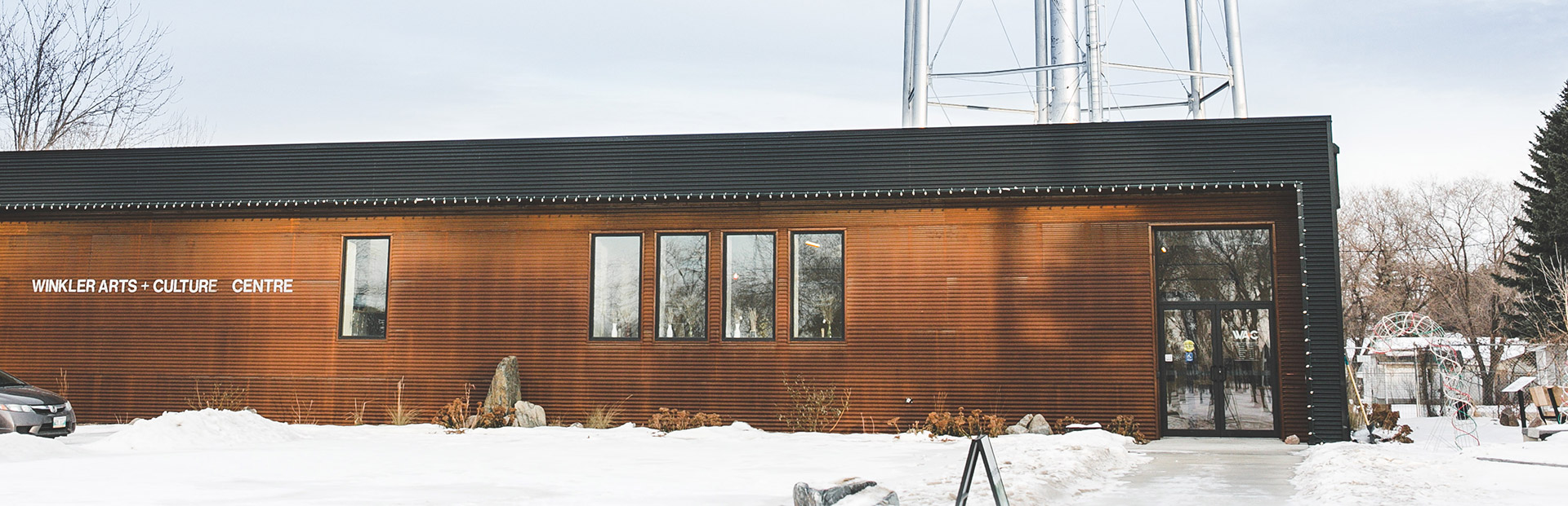 Winkler arts and culture front exterior in winter
