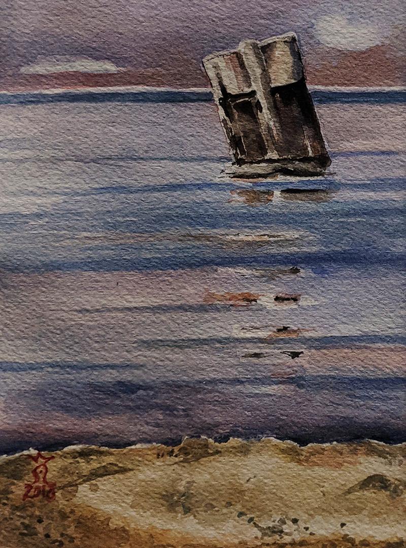 Groyne In The Evening Sea by Sylke Van Niekerk